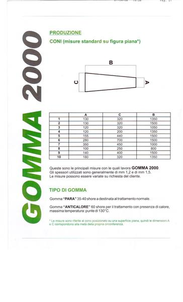 Tubolare in gomma anticalore max 110°sp.1 mm dimensione appiattita mm 180x270x1350 colore bianco.