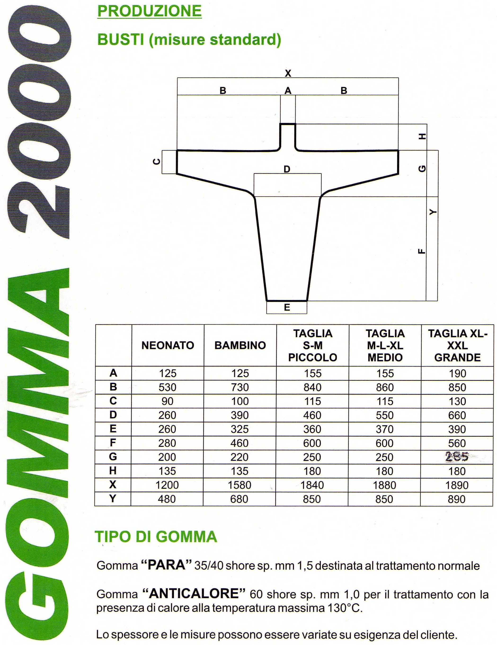 Busto in gomma naturale 40 shore sp. mm 1,5